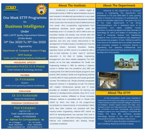 "Computer Science and Engineering Department has organized a one week Short Term Training Program (STTP), in Online Mode, on ""Business Intelligence """
