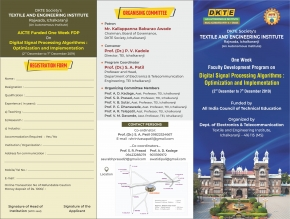 AICTE sponsored FDP on Digital Signal Processing Algorithms: Optimization and Implementation